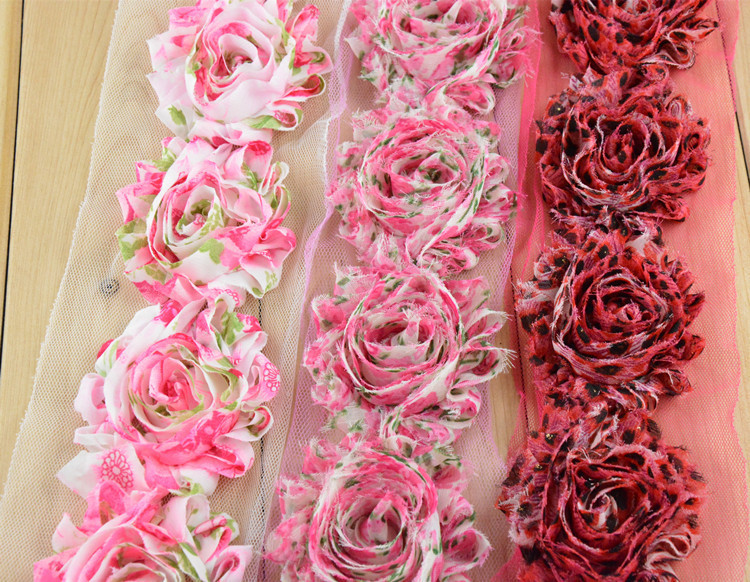 """Wholesale 26Colors 10 yards High Quality 2.5"""" Frayed Chiffon Shabby Flowers Chic Lace Flower Trims Free Shipping Leopard print"""