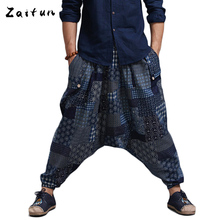 ZAITUN Folk Style Loose Linen Harem Pants Men Elastic Waist Casual Cross Pants Authentic Breathable Linen Trousers(China (Mainland))