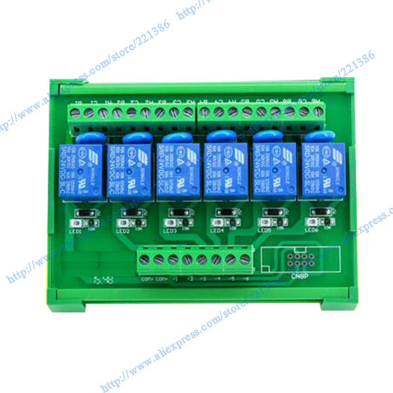 6 Channel Relay Module Driver Board Output Amplifier Board PLC Board SL Relay Module DIN Rail Mount Relay 3V 10A NPN