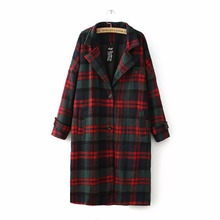 Фотография 14 Winter Women New retro classic red and green plaid long section single-breasted wool coat female outerwear wool & blends