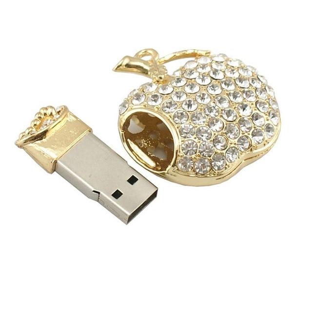 2016 Bling diamante Metal USB Flash Drives U Disk Pen Drive USB 2.0 disco de memória de 2 GB 4 GB 8 GB 16 GB 32 GB 64 GB Pendrive