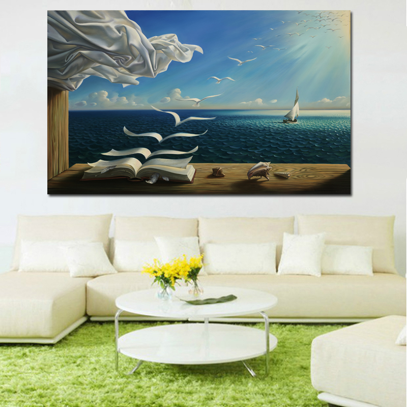 Salvador Dali Canvas Art Print Poster The Waves Book Sailboat Picture Canvas painting Diary of Discovery by Vladimir Kush(China)