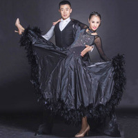 Ballroom Waltz Dresses Dance Competition Dresses Ballroom Dress Standard Customized Size D0428 Long Sleeve with Feathers