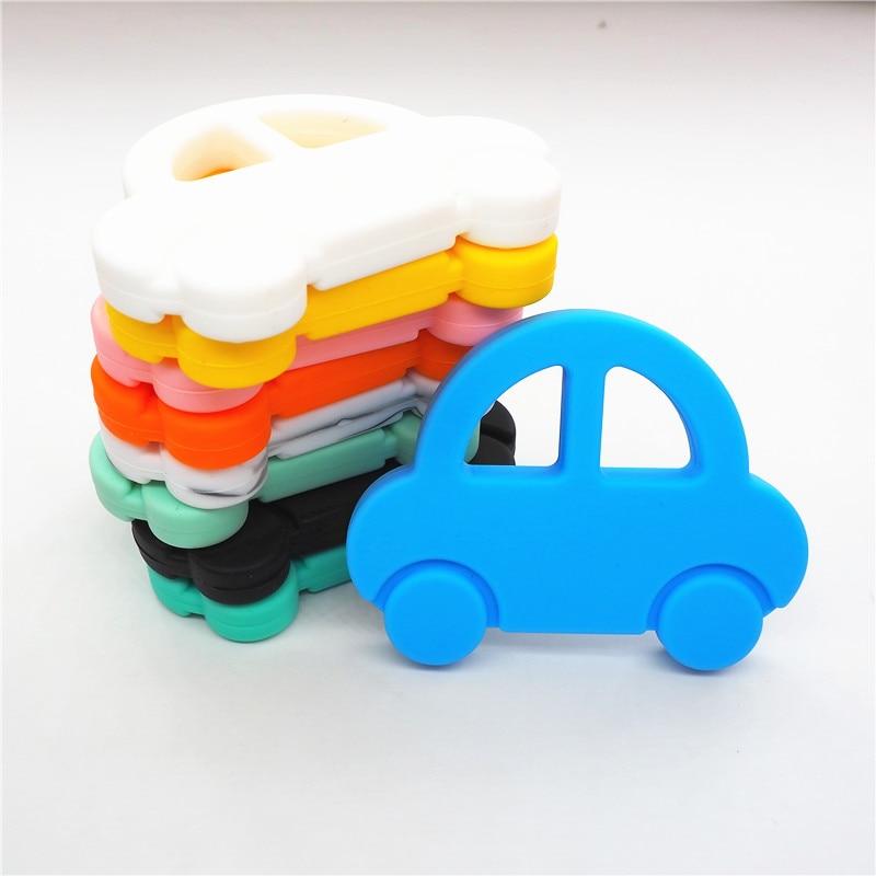 Chenkai 2PCS Silicone Car Teether DIY Baby Shower Chewing Pendant Nursing Sensory Teething Pacifier Dummy Toy Gfit BPA Free