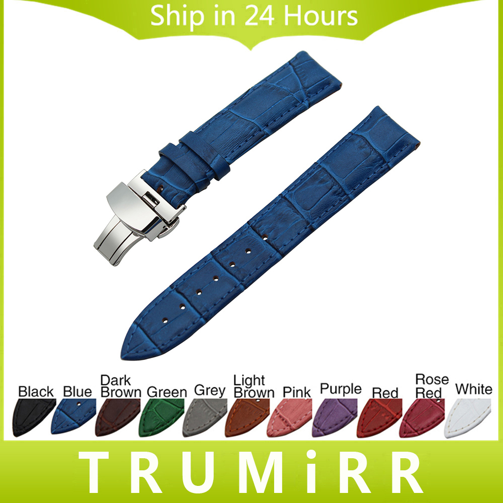 Genuine Leather Watch Band Butterfly Clasp Strap for Cartier Tank Santos Ronde Wrist Bracelet 14/16/17/18/19/20/21/22/23/24mm