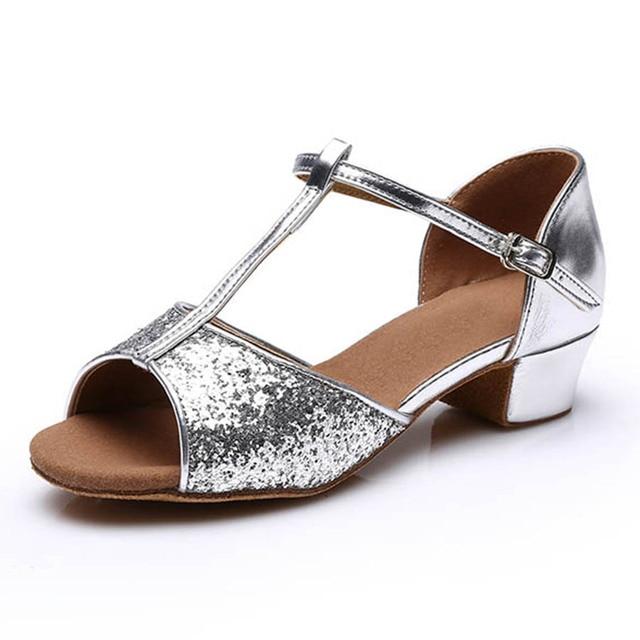 Silver color glitters low heel latin ballroom dance shoes for children kids  women ladies 73647e54e823