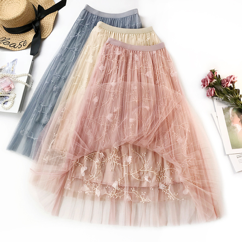 Ladies 3 D Embroidery Mesh Skirt Female Spring and Summer Long Fairy Skirt Elastic Wasit A Line Flower Embroidered Women Skirts