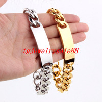 Popular 15mm Wide Silver Gold Tone Cuban Curb Link Chain With ID Strong Men's Stainless Steel Wristband Jewelry 9