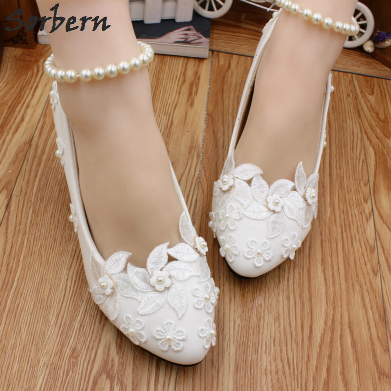 Sorbern Mature White Wedding Bridal Shoes White Shoes Low Heel Pumps Crystals Beading Ankle Straps Size 35-40 Ladies Shoes 2018