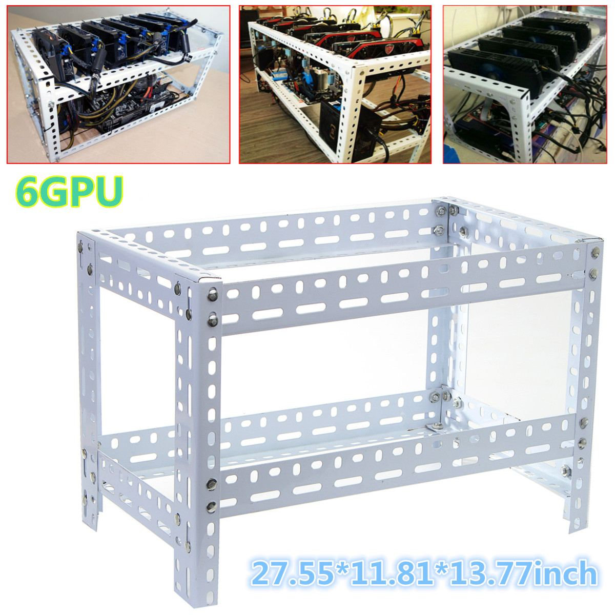 6/7/8 GPU Coin Open Air Mining Miner Frame Rig Case Holder Steel Shelf Ethereum