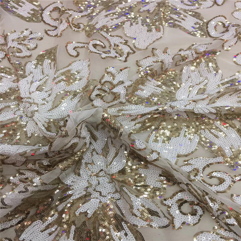 5 Yards Gold Embroidery French Lace Sequin African Party Nigeria Net Lace Fabric High Quality Lace Tulle Lace Fabric X14365 Yards Gold Embroidery French Lace Sequin African Party Nigeria Net Lace Fabric High Quality Lace Tulle Lace Fabric X1436