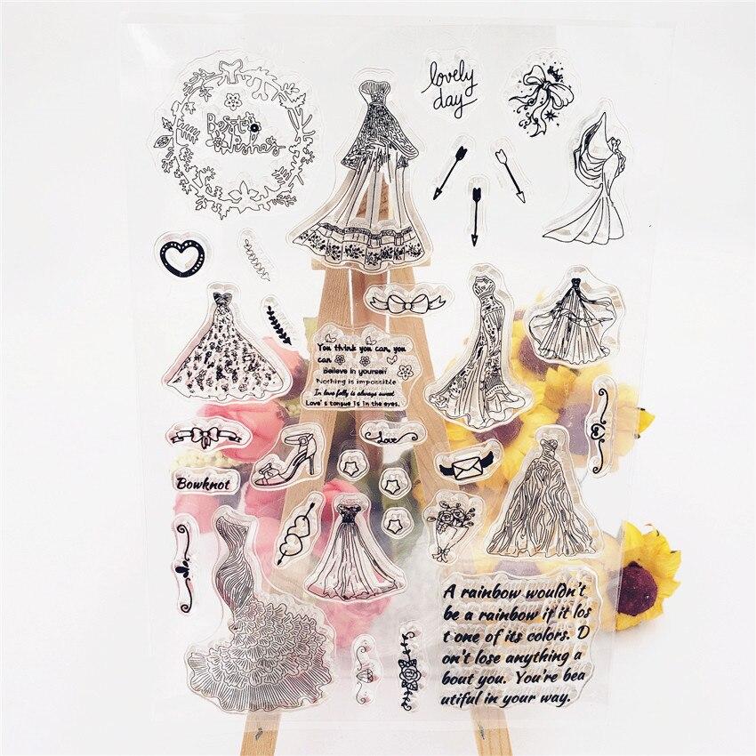 PANFELOU 11*16cm Mermaid wedding dress Transparent Silicone Rubber Clear Stamps cartoon for Scrapbooking/DIY Christmas album