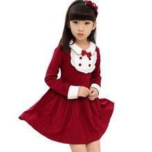 2016 filles nouveau printemps automne À Manches Longues sweet robe Turn-Down col patchwork enfants froufrous princesse robe