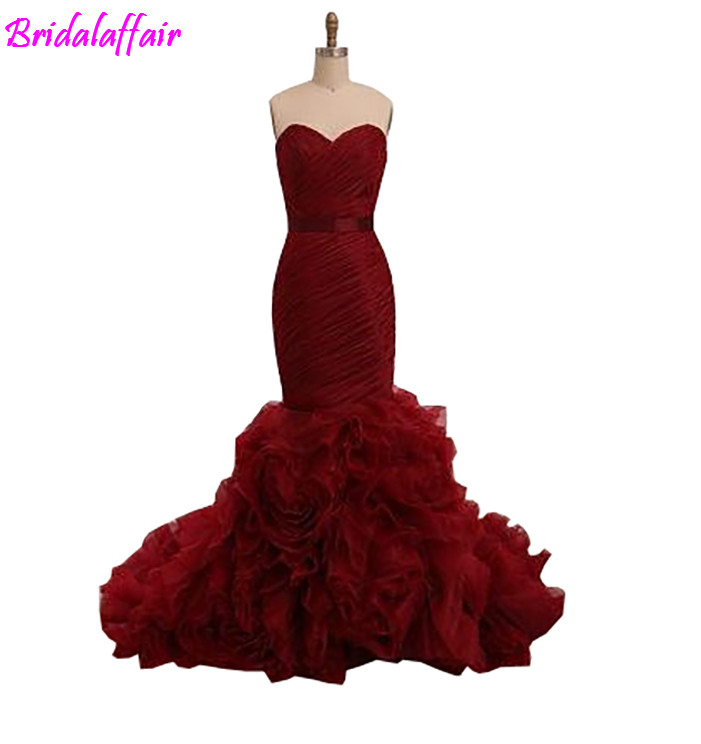 2018 Sexy Hot Sale Elegant Wine Red   Prom     Dresses   Strapless Organza Ruffles Mermaid Evening   Dresses   Formal Evening Gowns