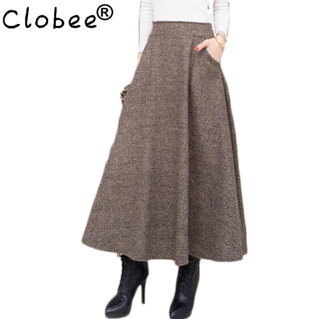 006ac09e5553de 2019 Wollen Herfst Winter Plus Size EEN Lijn Midi Wol Rok Faldas Mujer  Vrouwen Hoge Taille