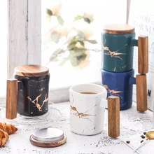 370ml marble with gold inlay ceramic coffee mugs wood lid and handle matte finish office drinking milk cups gifts