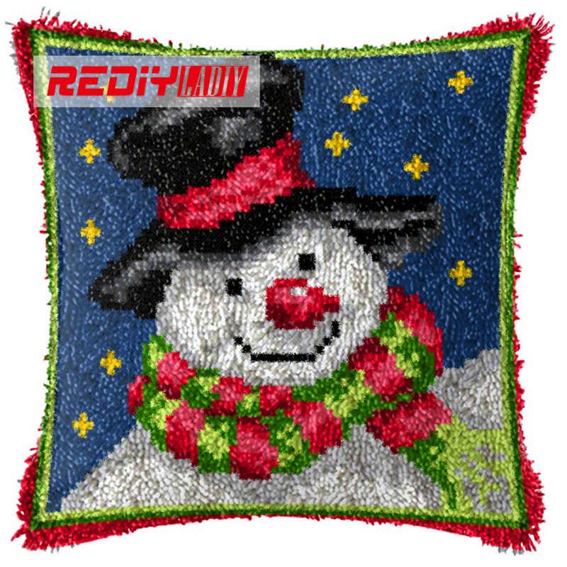 LADIY защелки крюк Подушка пряжа для чехол для подушки с вышивкой снеговик с шляпой наволочки для диванной подушки декоративные Чехлы для подушек BZ633