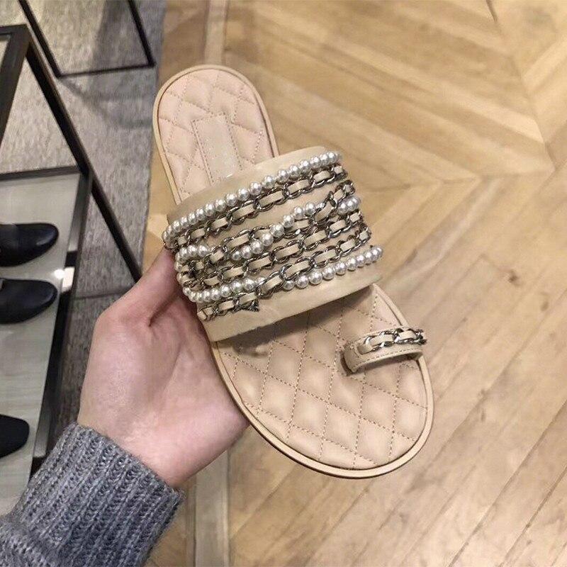 Pic as Chaussures D'été Luxe Dames Air Chaîne Diapositives Pic As De Designer Zapatos Mujer En Pantoufles Cuir Femme Plein Femmes nWfAAXwHU