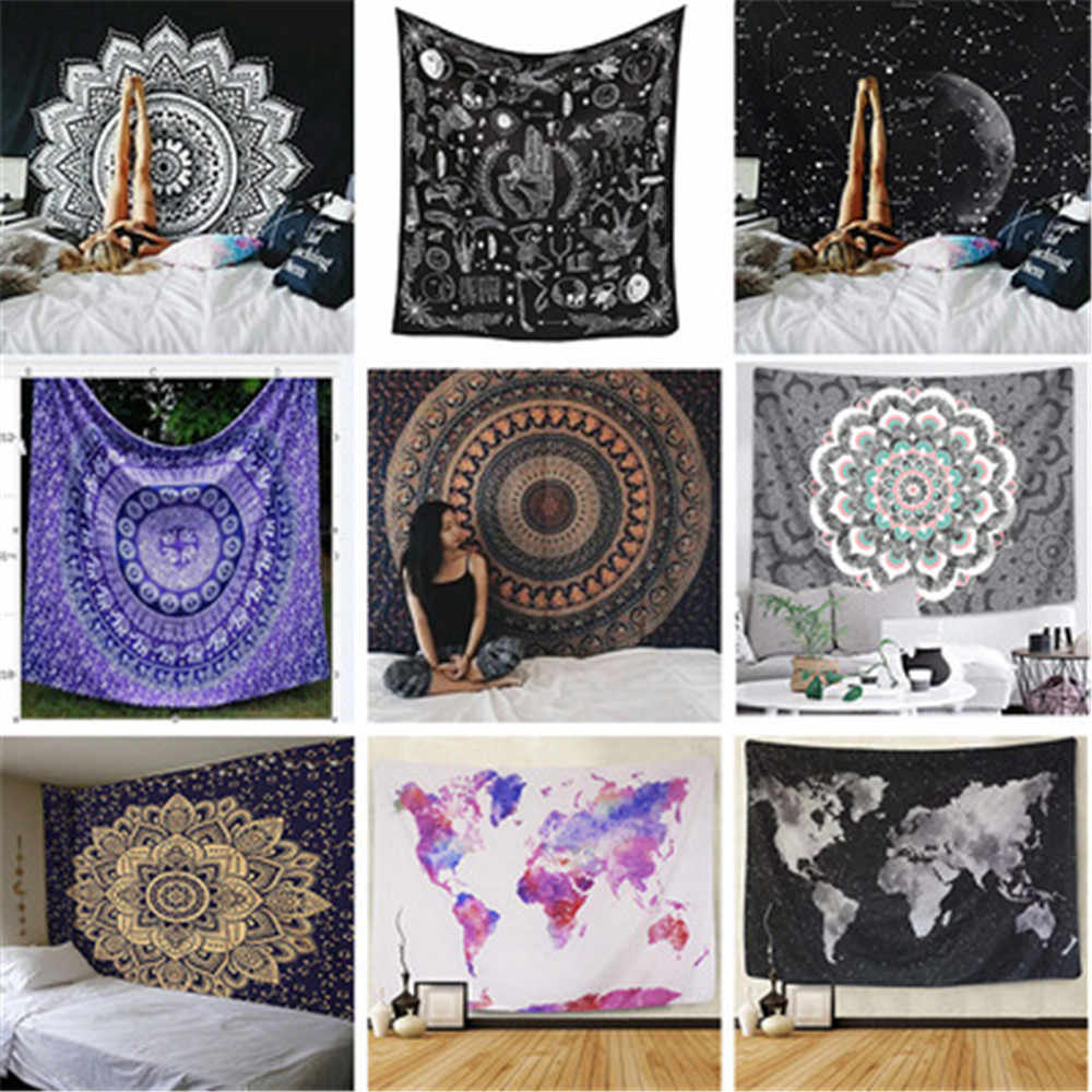 2019 Baru India Mandala Selimut Menggantung Macrame Dinding Stcikers Kain Hippie Langit Malam Bulan Permadani Mandala Dinding Karpet Permadani