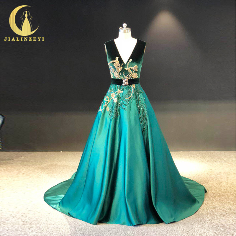 JIALINZEYI Real Sample Green Velvet And Satin With Gold Beads Fashion Formal Dress For Party Evening Dresses