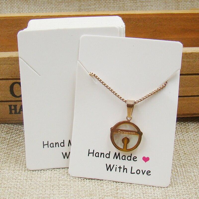 74*74mm niestandardowe logo biżuteria naszyjnik karta spersonalizowane logo 300gsm biały biżuteria produkty karty 1000 sztuk w Pakowanie i ekspozycja biżuterii od Biżuteria i akcesoria na  Grupa 2