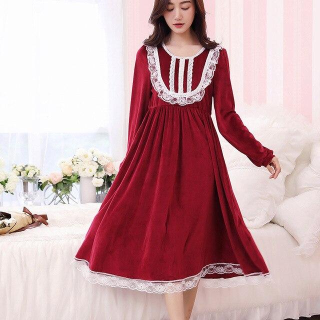 Pregnant Women Sleepwear Gown Dress Lace Coral Fleece Nightgown Women  Princess Night wear Vintage 2017 New e1a70a506