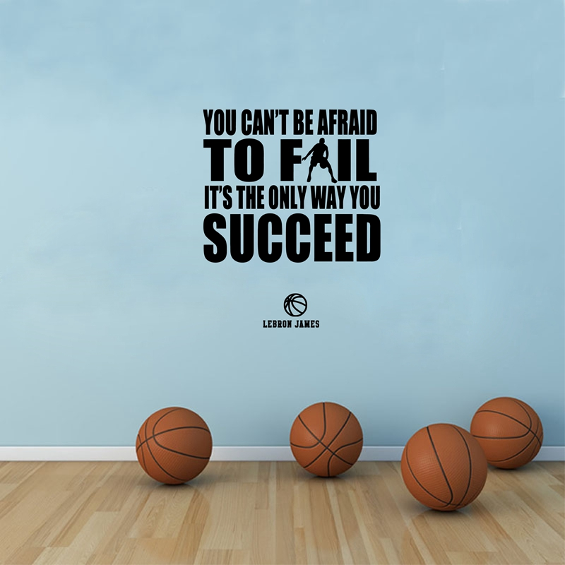 US $4.21 6% OFF|Basketball and Success Quotes Vinyl Wall Sticker Lebron  James Inspirational Quote Wall Art Decal For Boys Room Decoration-in Wall  ...