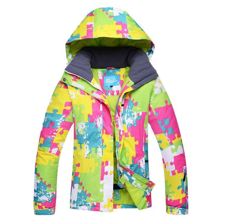 Veste de Ski chaude colorée pour femmes veste de Ski imperméable à l'eau