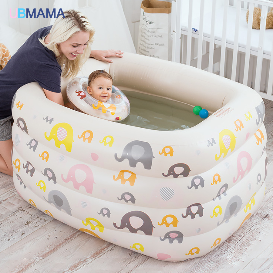 Cartoon insulation plastic inflatable square four children baby swimming pool pool bath newborn baby swimming pool dual slide portable baby swimming pool pvc inflatable pool babies child eco friendly piscina transparent infant swimming pools