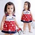 Новая одежда девочку 2016 девочку одежды комплект детская одежда девушка минни платье без рукавов + трусики комплект одежды