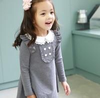 2017 Ilkbahar Sonbahar Yeni Varış Pamuk Kız Kore Giyim Bebek Yaka Uzun Kollu Casual Mini Elbise Çocuk Giyim Parti Balo