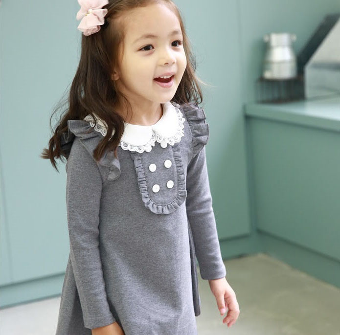2017 Spring Autumn New Arrival Cotton Girl Korean Dress Doll Collar Long Sleeved Kasual Mini Dress Kids Clothing Party Prom