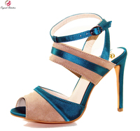 Original Intention New Elegant Women Sandals Nice Open Toe Thin Heel Sandals Fashion Blue Camel Shoes