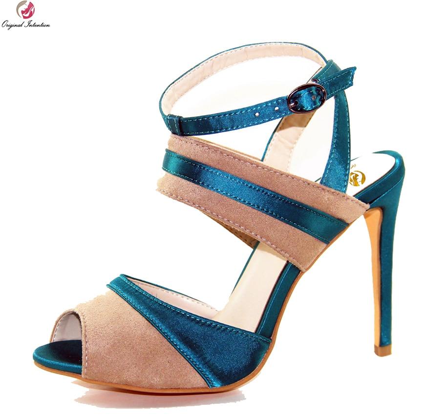 Original Intention New Elegant Women Sandals Nice Open Toe Thin Heel Sandals Fashion Blue&Camel Shoes Woman Plus US Size 4-10.5