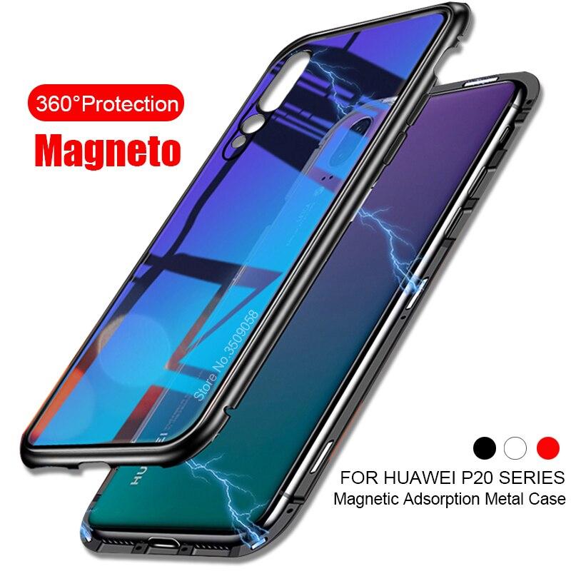 Magneto Magnetische Adsorption Metall Fall Für Huawei P20 Pro Fall Luxus Mit Glas Abdeckung fall Für Huawei p 20 P20 pro lite