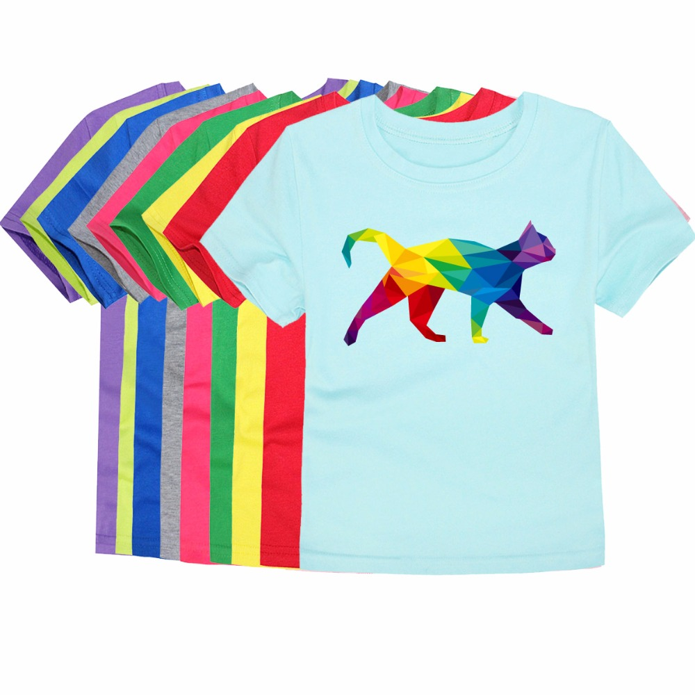 Girls Tops T-Shirts Boys Tees Cat-Printing Children Cotton Lovely 100 Cute And 3D