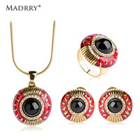 Madrry Ethnic Red Enamel Earring Necklace Ring Round Black Stone Alloy Jewelry Set For Man Women Party Costume Crystal Ornaments