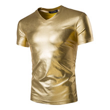 2016 Summer new gold silver T-shirt black men cultivating short-sleeved man hip-hop nightclub waterproof coating Glossy T-shirt(China)