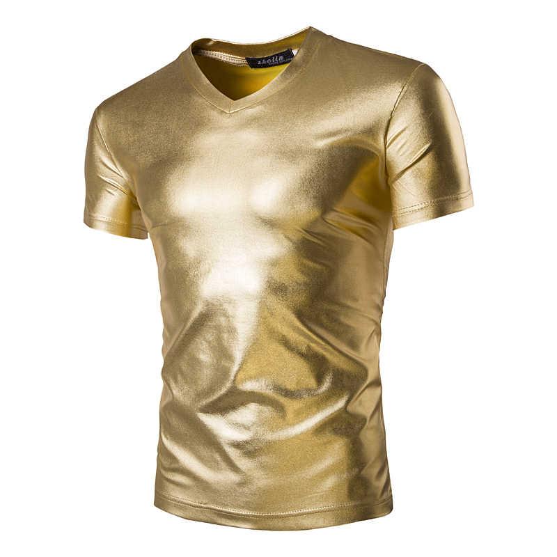 2016 Zomer nieuwe goud zilver T-shirt zwart mannen cultiveren korte mouwen man hip-hop nachtclub waterdichte coating Glossy T-shirt