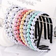 Xugar Hair Accessories Imitation Pearl Hairbands for Women Lady Semicircle Elastic Hoop Bride Wedding Headwear