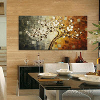 Tree Hand Painted Palette Knife 3D Texture Flower Hand Painted Canvas Oil Painting Wall Pictures For