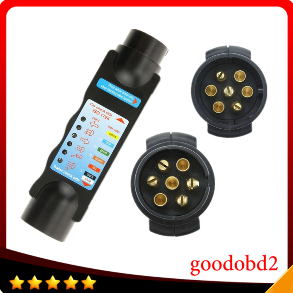 Professional Diagnostic Tool 7Pin Vehicle Light Cable  7 Pin Car  Trailer Cable Circuit Plug Socket Tester  Car Auto Tester