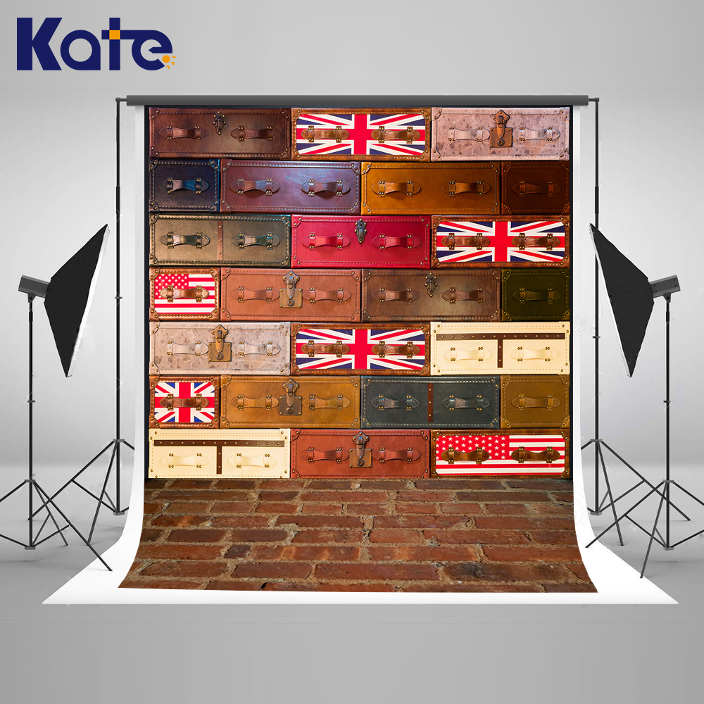 KATE Photo Background Children'S Suitcases Backdrop Brick Floor Backgrounds Vintage Newborn Backdrops School Backdrop for Studio