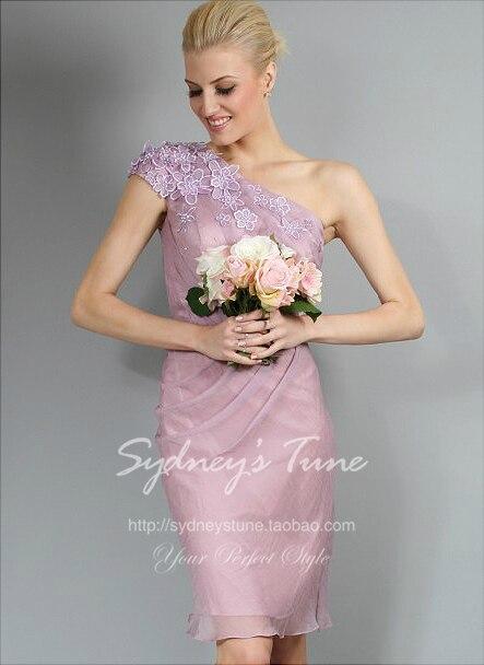 robe de soiree 2018 new fashion cheap vestido de festa longo one shoulder flowers short prom party   Bridesmaid     Dresses