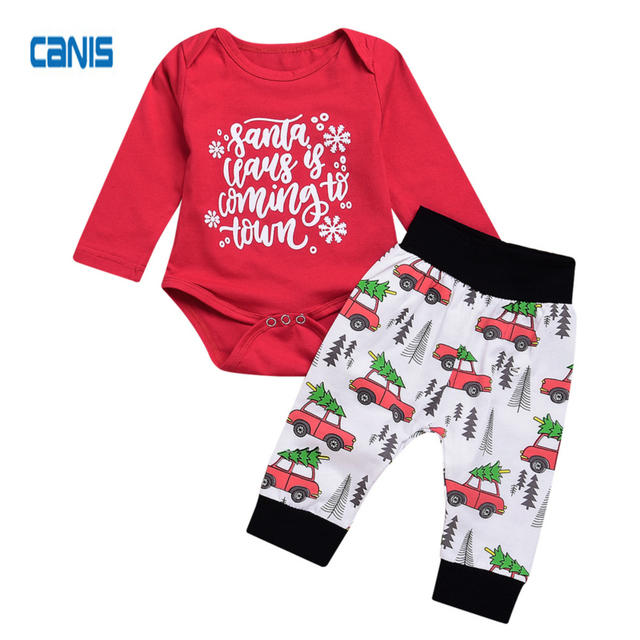 c215021ebc Christmas Newborn Toddler Kids Baby Girls Boys Santa Tops Romper Long Pants  Outfits Xmas Lovely New Fashion Cotton Set Clothes