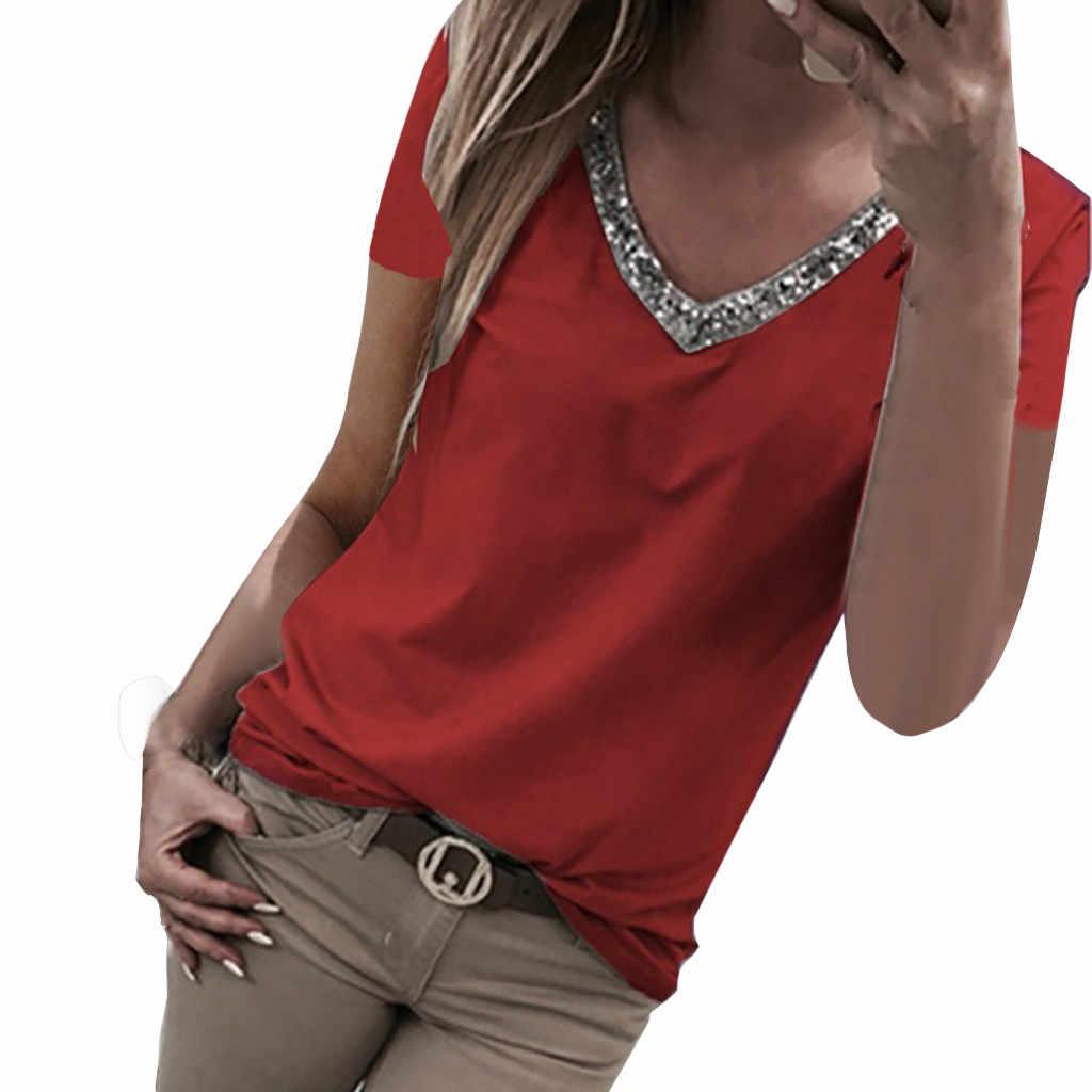 スパンコール夏 2019 Tシャツの女性のストリートカジュアルセクシーな半袖 V ネック Tシャツ女性 Vetement ファム 2019