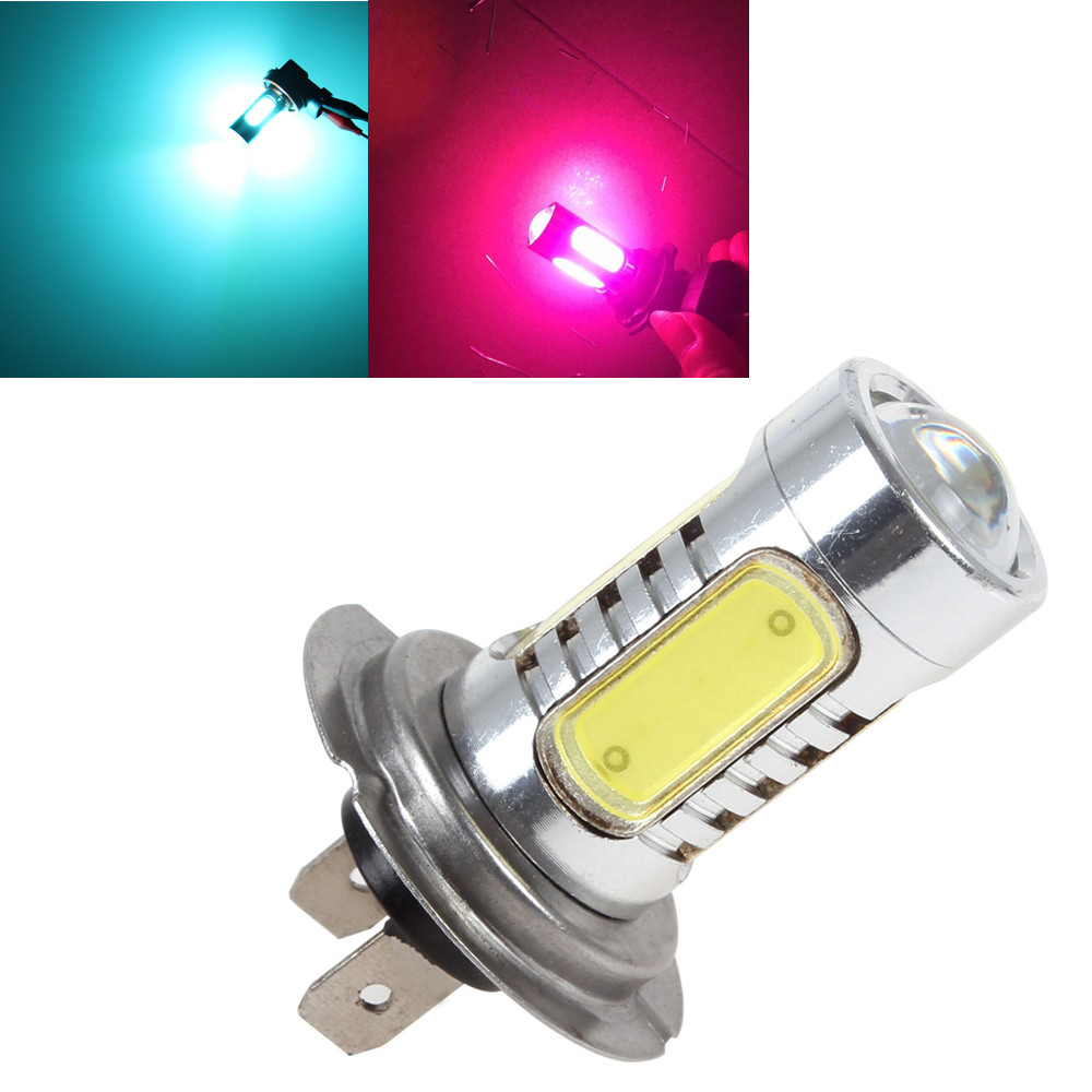 1PC 7.5W White H7 5 COB LED Replacement Bulbs For Car Fog Daytime Lights Projector Lens Driving DRL Lamp Amber Red Ice Blue Pink car cob led h7 bulb fog light parking lamp bulbs driving foglight 7 5w drl 2pcs amber yellow white red ice blue