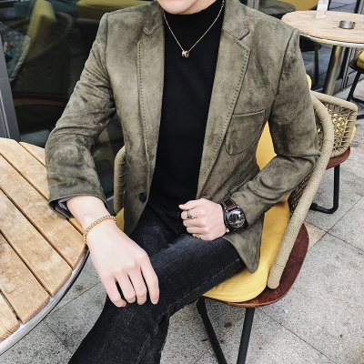 2018 новые мужские Личность Красный личность замши Один куртка в стиле вестерн Мужская Повседневный комплект стилист Малый бизнес костюм