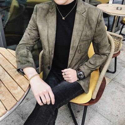 2018 nova personalidade dos homens de personalidade vermelho camurça único ocidental terno cabeleireiro negócio dos homens casuais jaqueta pequena terno