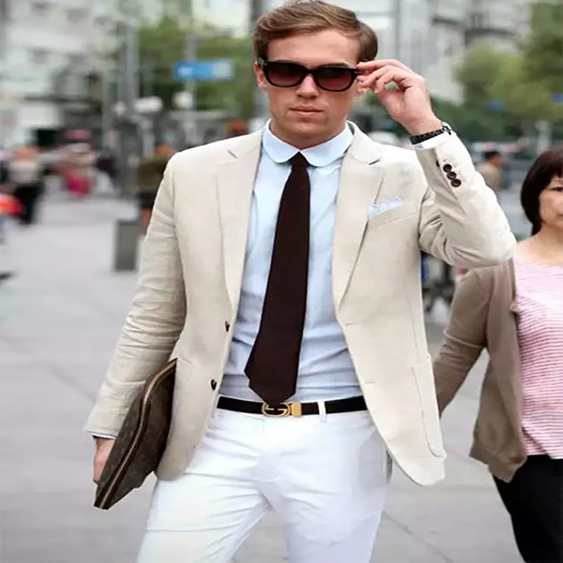 Costume men suits beige smart casual jacket classic terno for business wedding elegant mens suits with white pants 2 pieces